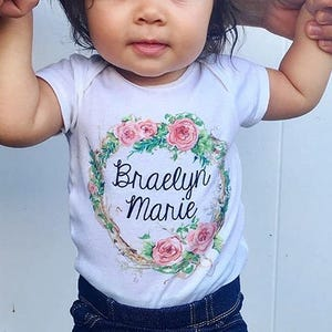 329d312d4 Personalized bodysuit , baby shower gift , new mom , personalized floral  wreath , floral wreath , name bodysuit , new baby , newborn