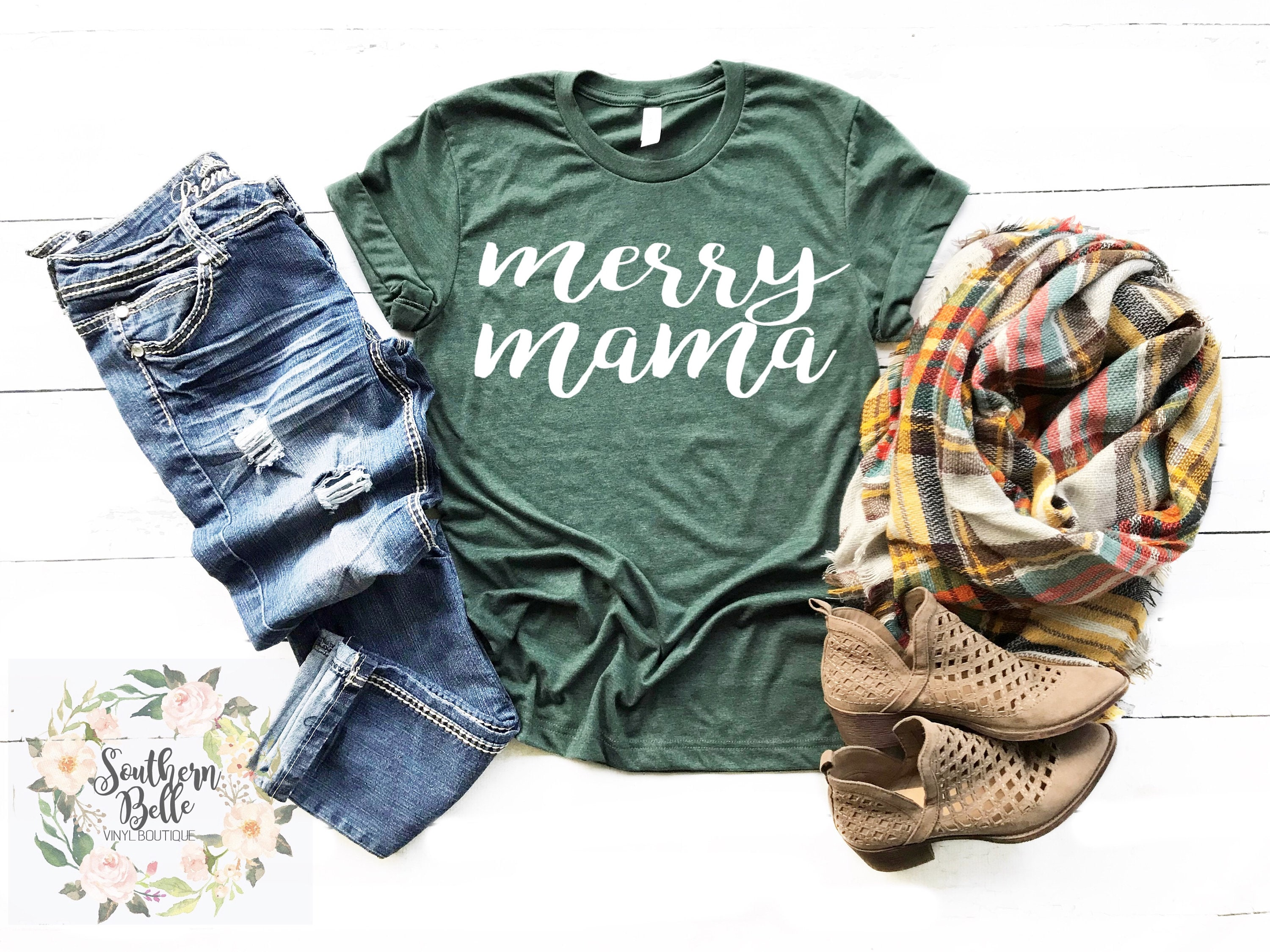 merry mama christmas shirt christmas tee mama shirt unisex shirt christmas graphic tee womens clothing womens tops