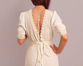 Boho wedding dress, rustic wedding dress, bohemian wedding dress, V-neck, backless dress, cotton wedding dress, alternative wedding dress