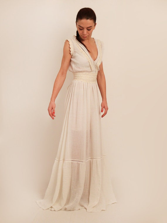 Cotton wedding dress boho wedding dress cleavage wedding