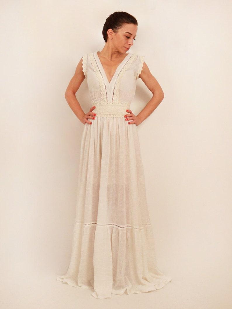 e3a30cbc31 Bawełna wesele sukienka suknia ślubna boho rozkładu suknia