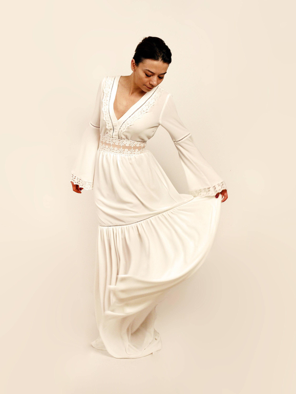 Rustic Wedding Dress Bell Sleeves Boho Wedding Dress Long Sleeve Dress Unconventional Dress Alternative Wedding Dress V Neckline