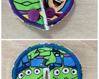 G G/J tube pads, G G/J tube covers, mic-key button made from Toy Story Fabric