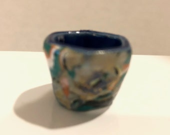 Pottery VASE covered with Polymer Clay Artisan Dollhouse Miniature 1:12 scale