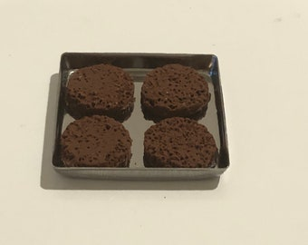 Tray of 4 Grilled HAMBURGERS Dollhouse Miniature Artisan 1:12 Scale Mini Handcrafted Polymer Clay Signed CDM 2020