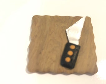 CUTTING BOARD w/ KNIFE Dollhouse Miniature 1:12 Scale w/ Spoons Handcrafted Polymer Clay Signed