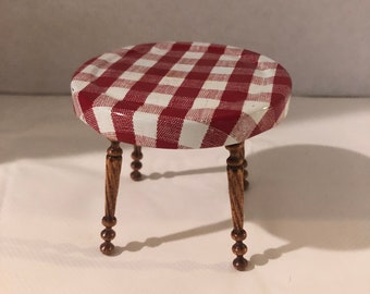Vintage Signed RED WHITE Checked Table Dollhouse Miniature 1:12 Scale 1986