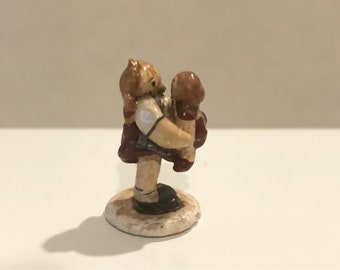 1979 Vintage Sculpture Mother Child Polymer Clay Dollhouse Miniature Artisan 1:12 Scale Mini Signed Kiss Me
