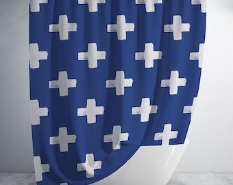 Geometric Custom Curtain Panel by Spoonflower Swiss Cross Curtain Panel Plus/_boheme/_navy/_and/_grey by holli/_zollinger