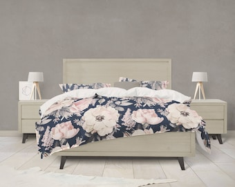 Floral bedding etsy navy and pink watercolor floral bedding mightylinksfo