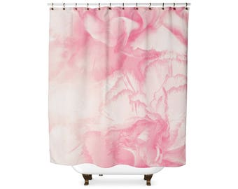 Pink Watercolor Flower Shower Curtain