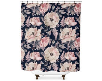 Pink And Navy Floral Shower Curtain