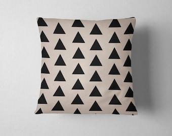 Simple black and tan geometric triangle throw pillow
