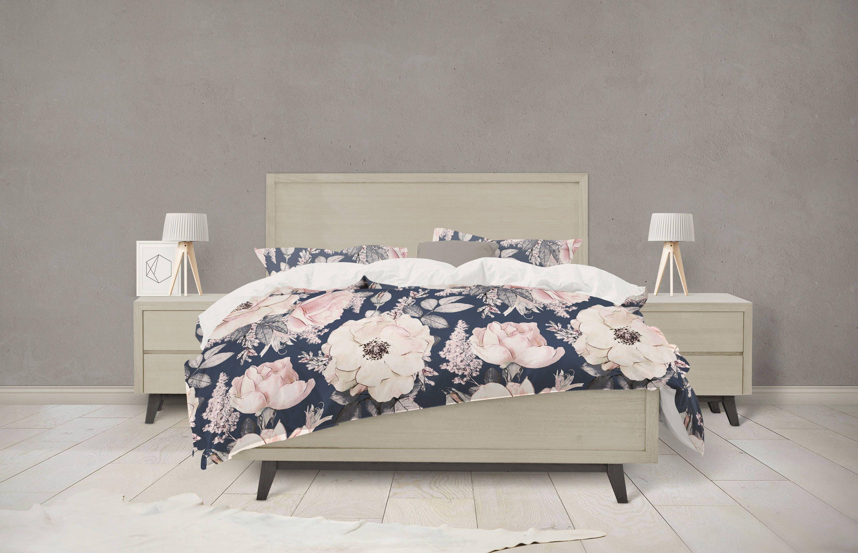 navy and pink watercolor floral bedding etsy. Black Bedroom Furniture Sets. Home Design Ideas