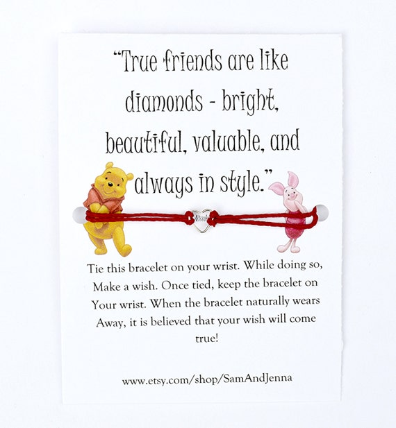 Pooh Quotes About Friendship: Winnie The Pooh Friendship Wish Bracelet Piglet Cute Gift