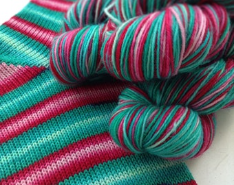 Hand dyed self striping sock yarn - Poison Candy