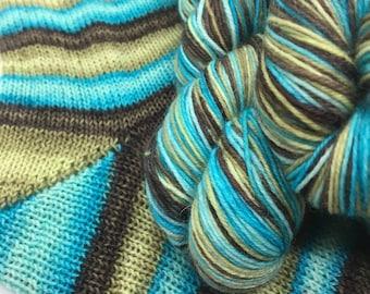 Hand dyed self striping sock yarn - Ice Climber