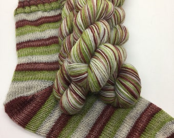Hand dyed self striping sock yarn - Where The Wild Roses Grow