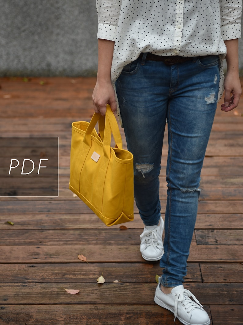 3 in 1 Addictive Free Canvas Tote  Bag PDF Sewing Pattern  image 0