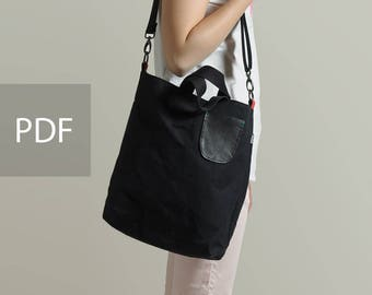 Waxed Canvas 2 ways Tote Bag - Bag PDF Sewing Pattern - with Sewing Tutorials  by niizo (no supplies)