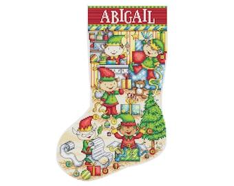Elf Workshop Christmas Stocking - Durene J Cross Stitch Pattern - DJXS2427