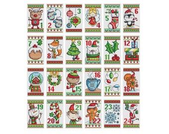Christmas Advent Calendar - Set of 24 - Durene J Cross Stitch Pattern - DJXS2429