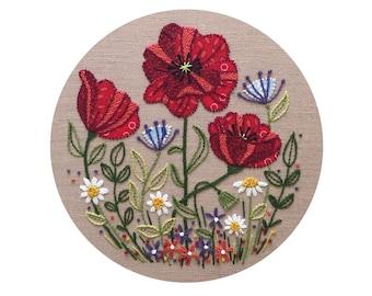 Poppy Field - Durene J Embroidery Pattern - DJE1034