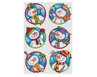 Snowman Set - Set of 6 - Durene J Cross Stitch Pattern - DJXS2428
