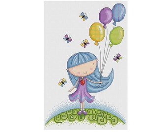 Girl with Balloons - Durene J Cross Stitch Pattern