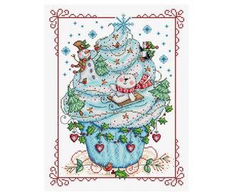 Winter Fun Cupcake - Durene J Cross Stitch Pattern - DJXS2246