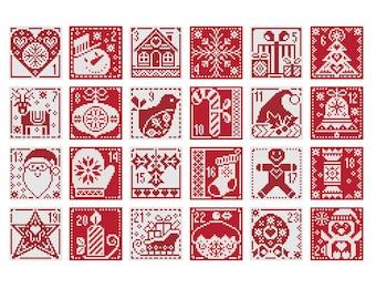 Red And White Christmas Advent Calendar - Set of 24 - Durene J Cross Stitch Pattern - DJXS2430
