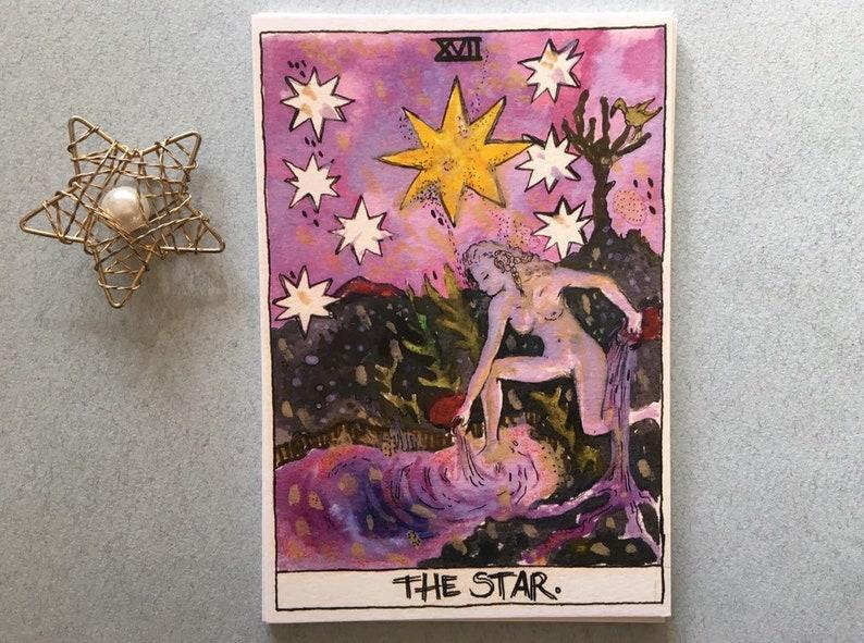 The star tarot card print, Tarot deck art