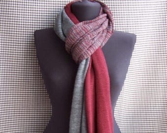 big long thin soft Bordeaux and gray striped gradient knit wool blend scarf for men or women