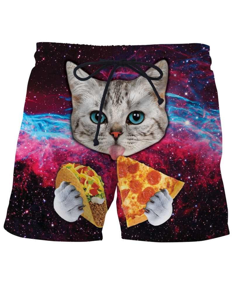 352e48772cbec Space Taco Cat Funny Mens Swim Trunks Bathing Suit Swimwear | Etsy