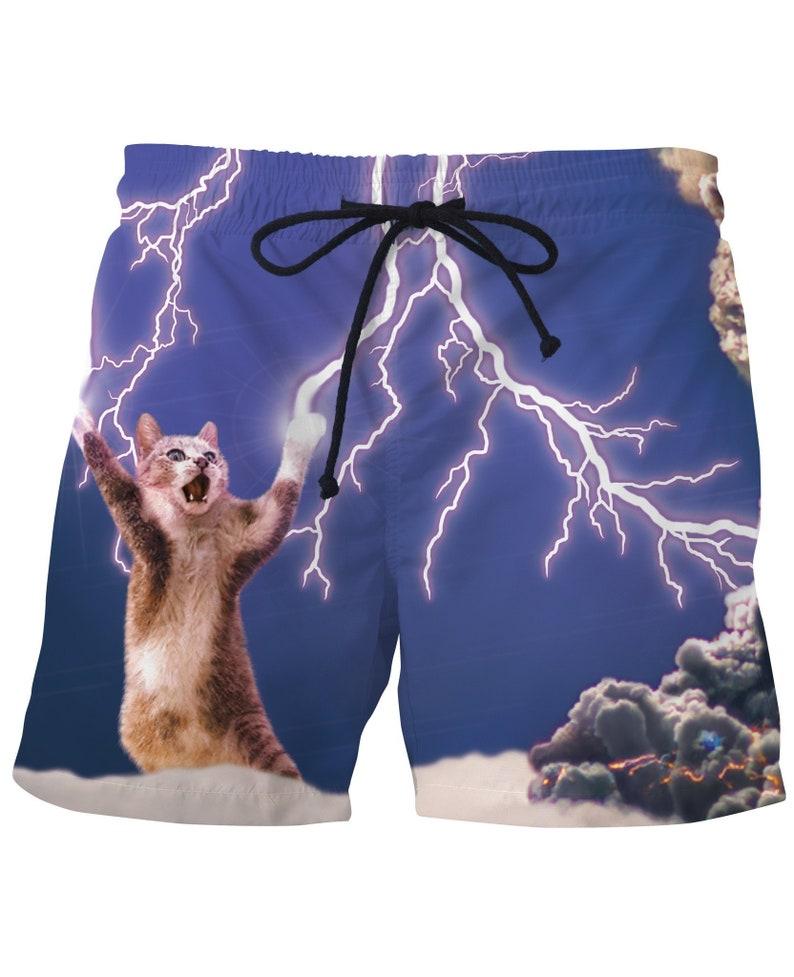 ba5a90cc9d8a3 Funny Thundercat Swim Shorts Mens Swimwear Bathing Suit Mesh   Etsy