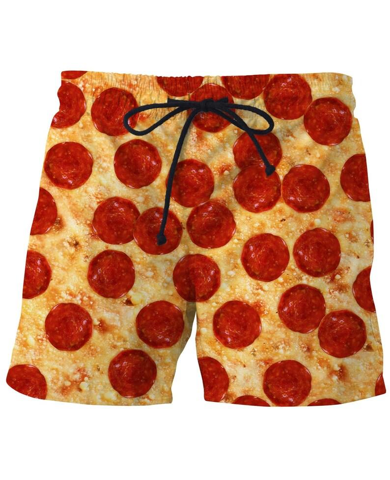 24f55c584e Funny Gift For Pizza Lover Mens Swim Trunks Pattern Swimwear | Etsy