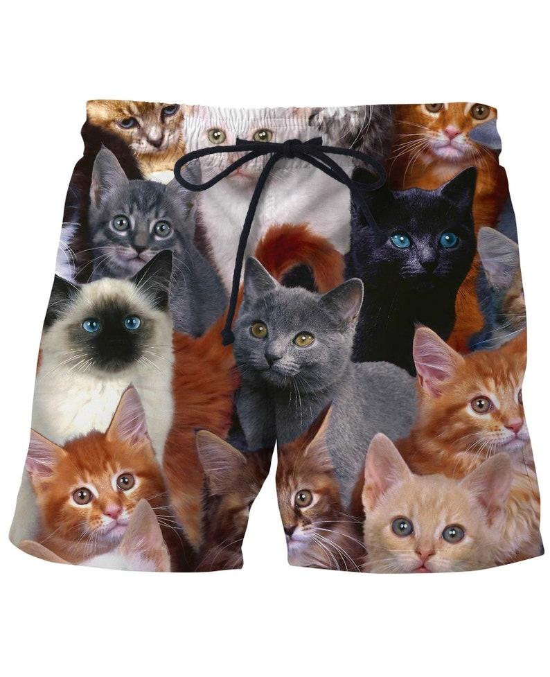 34e7fc02d8dad Gift For Cat Lover Kitty Collage Mens Swim Trunks Bathing Suit | Etsy
