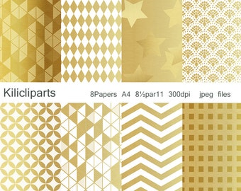 GOLD PAPERS,  White and gold papers, instant download.