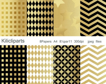 GOLD PAPERS,  White and gold papers, black and gold papers, instant download.