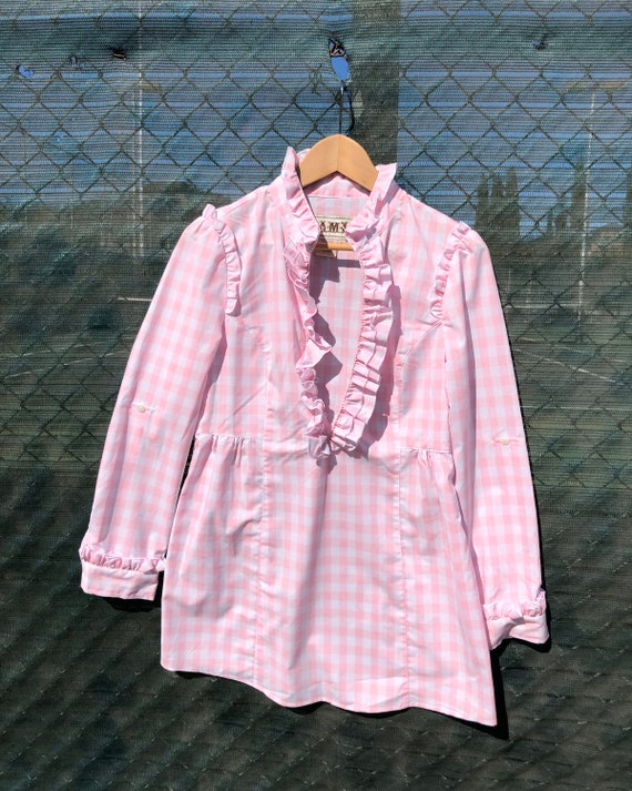 Pink Gingham Babydoll Dress - Size Small - image 4