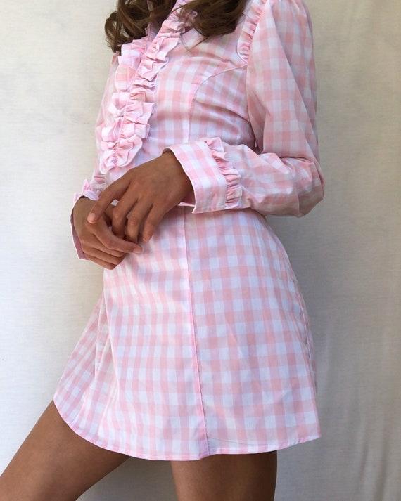 Pink Gingham Babydoll Dress - Size Small - image 1