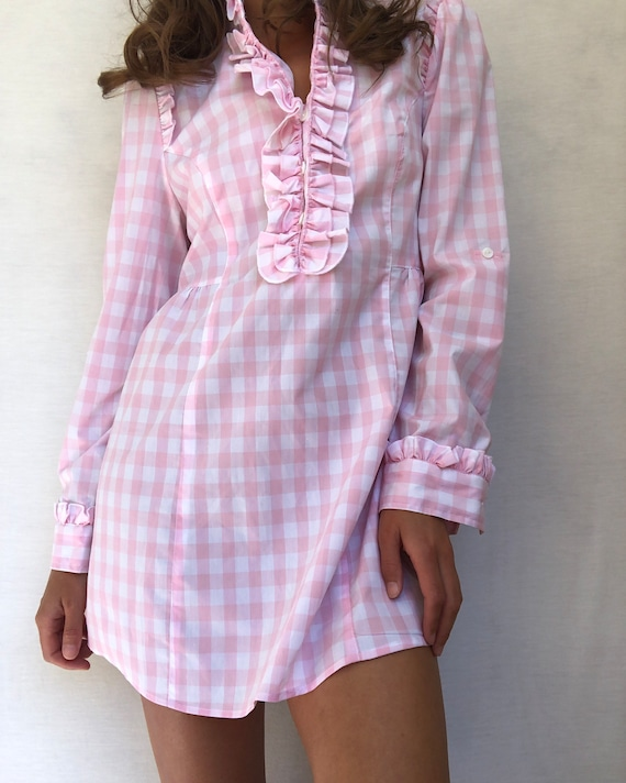 Pink Gingham Babydoll Dress - Size Small - image 3