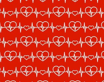 Fat Quarter Red Heart Beat # 17495-R by Fabric Traditions. 100% Cotton Fabric. Quilting Fabric.  Nurse fabric. Face mask