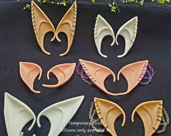Pick-Your-Colors Slip-on Silicone or Latex Elf Fairy Ears with Earrings