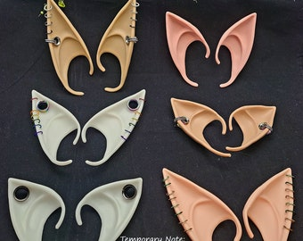 Pick-Your-Colors Gauged Punk Rock Silicone or Latex Slip-on Elf Fairy Ears with Earrings