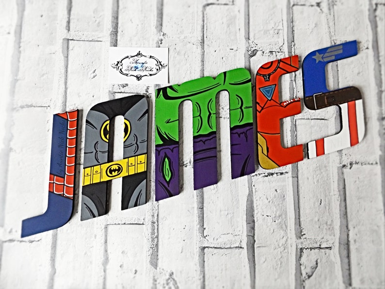 6 Thin Superhero Letters Hand Painted Personalised Superhero Wall Art Kids Name Wooden Letters Marvel Gifts Dc Comics Comics