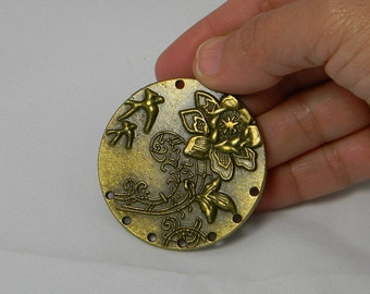Antique Bronze Flower Metal Pendant Focal, Large 6 Hole Pendant, Flower Pendant, 48x3mm, Jewelry Supplies