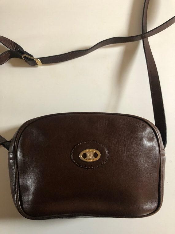 Celine shoulder bag leather logo Triomphe 70s