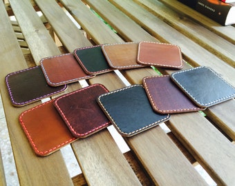 Handmade Leather Coasters / Handstitched Leather Coasters / Coffee mats / Full grain leather coasters