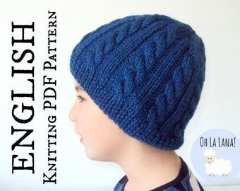 The Twists and Bars Cable Hat KNITTIG PATTERN - Cable knitting hat pattern - Baby to adult sizes - PDF Instant download